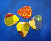 Upcycled Plastic Gift Cards Guitar Picks - Thank You Starbucks Coffee 4 Pack