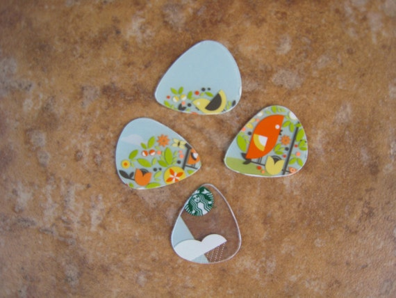 Upcycled Plastic Gift Cards Guitar Picks - Summer Birds Flowers Starbucks Coffee 4 Pack