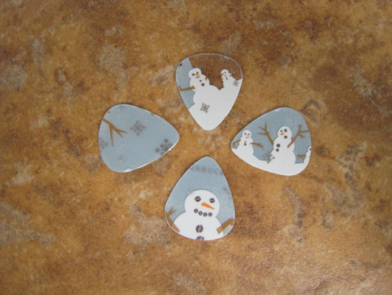 Upcycled Plastic Gift Cards Guitar Picks - Snowman Winter Starbucks Coffee 4 Pack