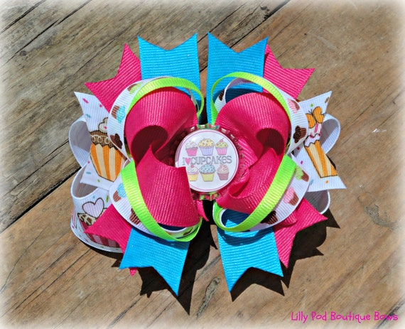 Stacked Cupcake Bottle Cap Boutique Bow