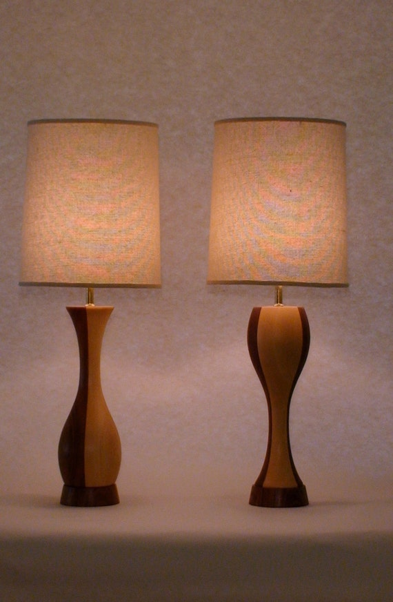 He Said She Said Table Lamps, natural maple and walnut, natural linen drum shade, modern