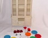 Marx 1978 Sindy Doll Dollhouse Furniture China Hutch with Plates Glasses/Server Box