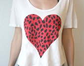 White Tshirt/Tank/Top with dotted heart