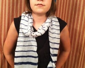 Navy Blue and White Striped Scarf - Crocheted Edges - Light and Airy