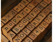 Wooden Rubber Stamps - Alphabet Stamps Set - Letter Stamps (70pcs)