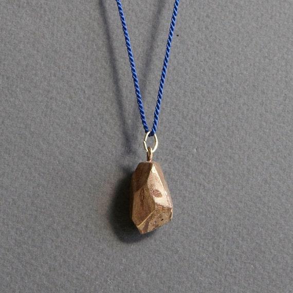 Silk Drop Crystal Necklace (Navy)