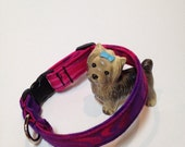 Pink & purple adjustable cotton small dog collar