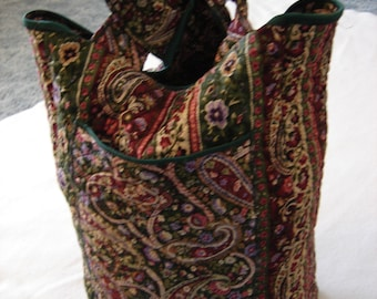 Paisley Print Quilted Tote Bag
