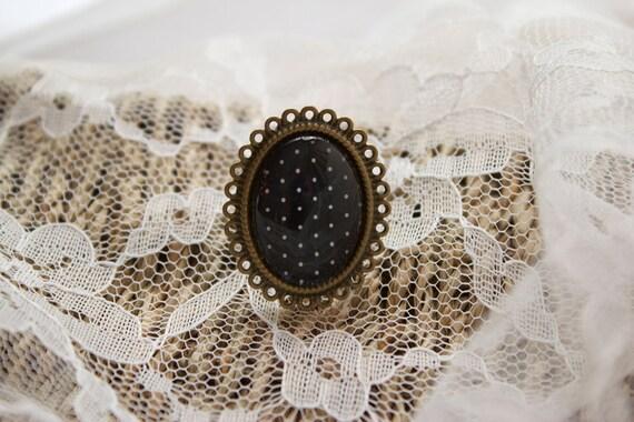 Black & White Polka Dot Ring