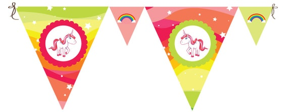 Rainbow Unicorn - Paper Bunting (30 reusable pieces, makes 3m and includes ribbon)