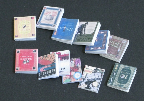 Set of 12 BOOKS  with pages,1 :12 scale, Youth literature,DOLLHOUSE MINIATURES