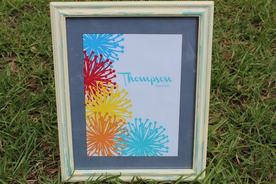 Antiqued White and Turquoise Blue Distressed Picture Frame 8X10