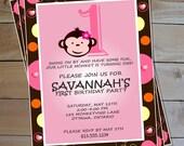 Mod Monkey Birthday Invitation - Girl's Mod Monkey Printable Party Invitation
