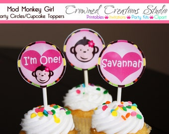 Mod Monkey Birthday Cupcake Toppers or Party Circles - Girl's Mod Monkey Party Printables