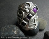 Wide sterling silver ring, purple amethyst cabochons, free form knotwork design, large statement ring, size 9 and 1/2