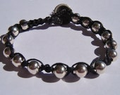 Wrap Bracelet with Silver plated balls on Black Waxed Linen