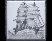 Original scrimshaw on Volcanic rock by R. Machado 15 x 13,5 cm