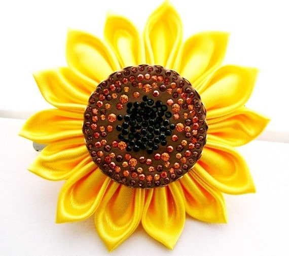 Sweet Sunflower Kanzashi Hair Flower-With nearly 100 Swarovski Crystal Chatons Sparkling from the center