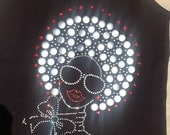 Silver Embellished Afro Lady Shirts with Red Accents