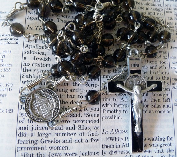 St. Benedict Rosary - Smoky Quartz