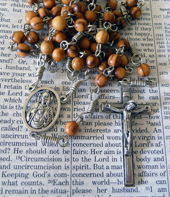 Sacred Heart Rosary - Olive Wood