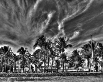 Park Central Strip Ocean Drive Miami Beach Photography Art Deco District Black And White Architecture Decoration