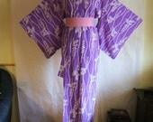 Komon Kimono with Wisteria, Synthetik. Hitoe, for Kimono, Japan