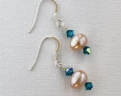 Lovely Sterling Silver Peach Pearl and Blue Swarovski Crystal Earrings