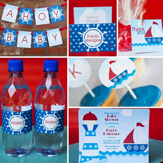 items similar to little sailor baby shower instantly downloadable