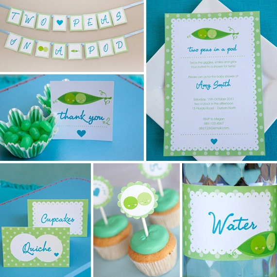 two peas in a pod twin baby shower instantly downloadable and