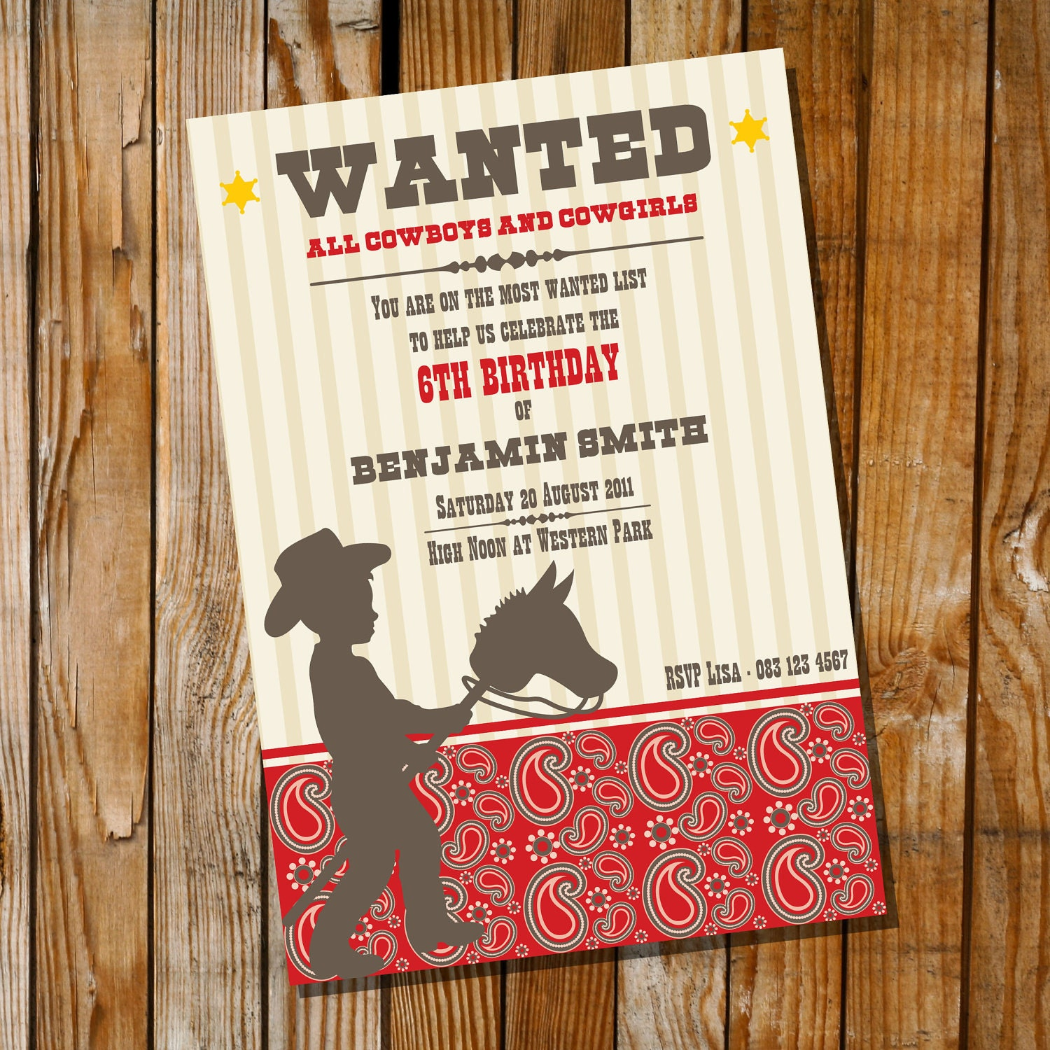 Little Cowboy Birthday Party Invitation Only Instantly – Wild West Party Invites
