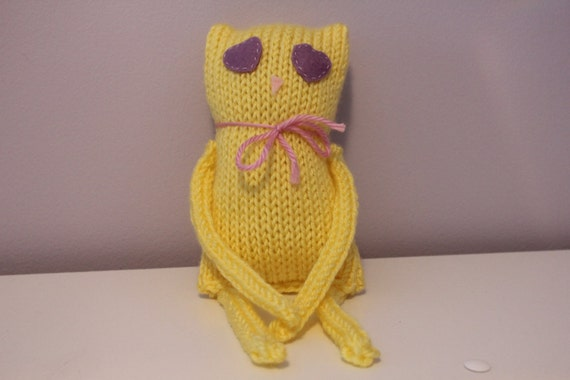 Yellow Kitty - Handmade Knitted Cat Plush Toy - READY TO SHIP