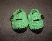 Crochet Baby Booties -- Handmade -- Green w/ Brown Sole