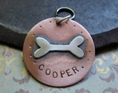 large custom dog tag, copper
