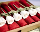 6xPure Linen Handcrafted Napkins With Unique Rose Ideal Gift Souvenir Accessorie Christmas