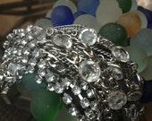 VINTAGE Rockstar Magnetic Bracelet: Silver & Rhinestone