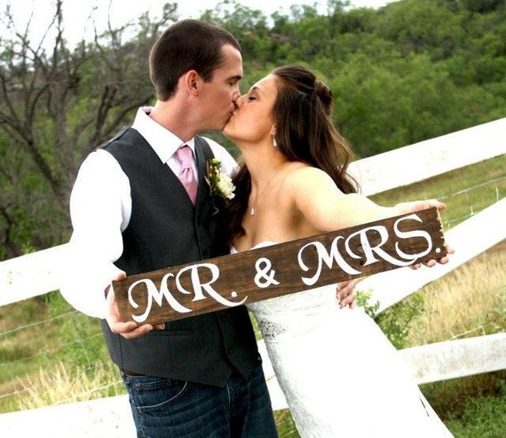 "Rustic Wooden Wedding Sign - ""Mr. & Mrs."""