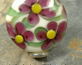 Holiday Floral, Lampwork Focal bead,ThePurpleLilyBeads,SRA