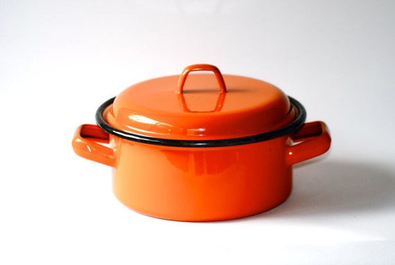 Orange Enamel Pot with Lid and Handles Retro Kitchen Enamelware