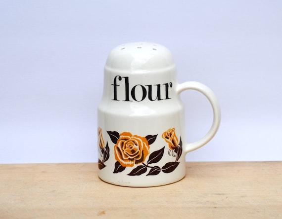 Vintage Flour Shaker Retro Kitchen roses design ceramic baking cottage chic