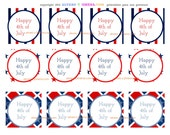 4th of July Cupcake Toppers or Party Circles-Printable (Digital File)