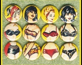 "12 pin up girls MIX AND MATCH body parts 1"" inch buttons, medallions or magnets"