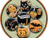 "7 awesome Vintage HALLOWEEN set 1"" inch buttons, medallions or magnets SET D"