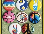 """8 PEACE sign Symbols 1"""" inch buttons, medallions or magnets SET A"""