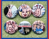 """6 SEA MONKEY family 1"""" inch buttons, medallions or magnets"""