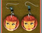 Doll button earrings
