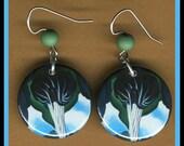 Georgia O'Keeffe green/blue Flower EARRINGS