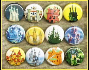 """12 vintage CASTLES 1"""" inch buttons, medallions or magnets"""