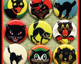 "9 Halloween Spooky CATS 1"" inch buttons, medallions or magnets SET A"