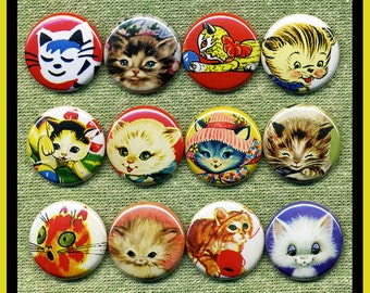 """12 cute vintage KITTENS 1"""" inch buttons, medallions or magnets SET B"""